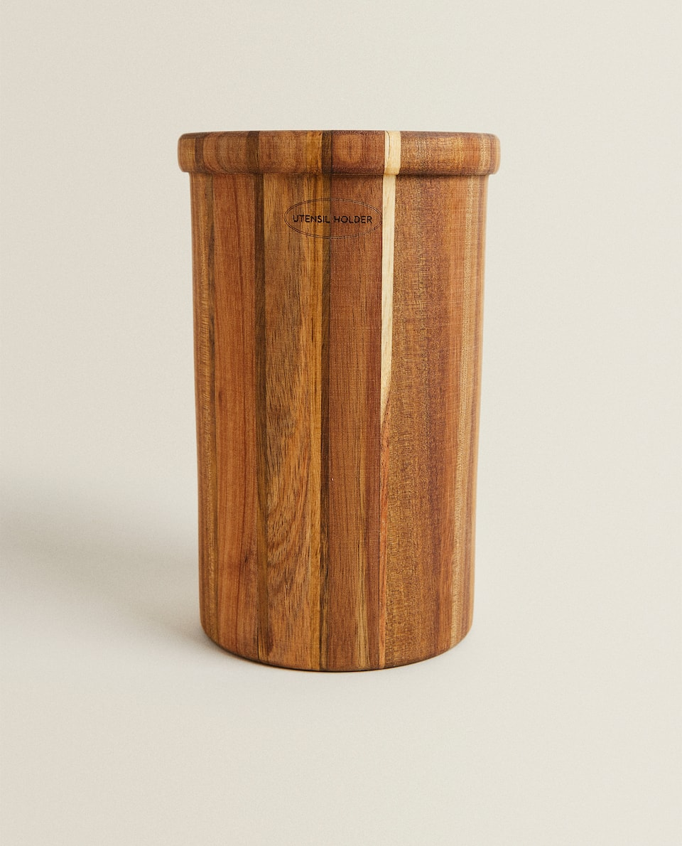 WOODEN UTENSIL JAR