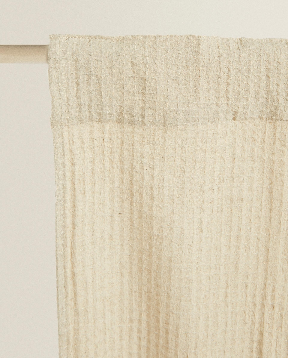 COTTON AND LINEN WAFFLE-TEXTURED CURTAIN