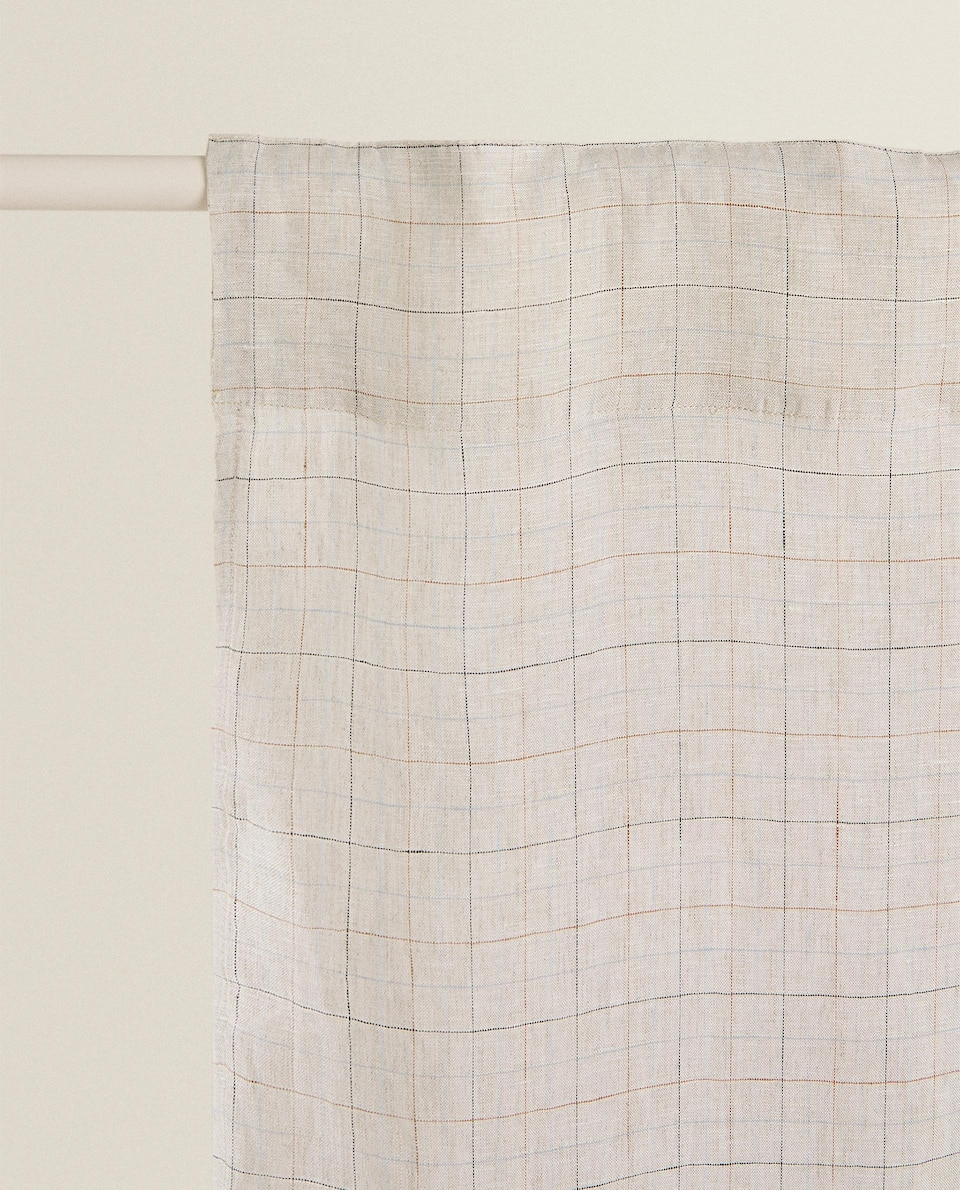 CHECKED LINEN CURTAIN