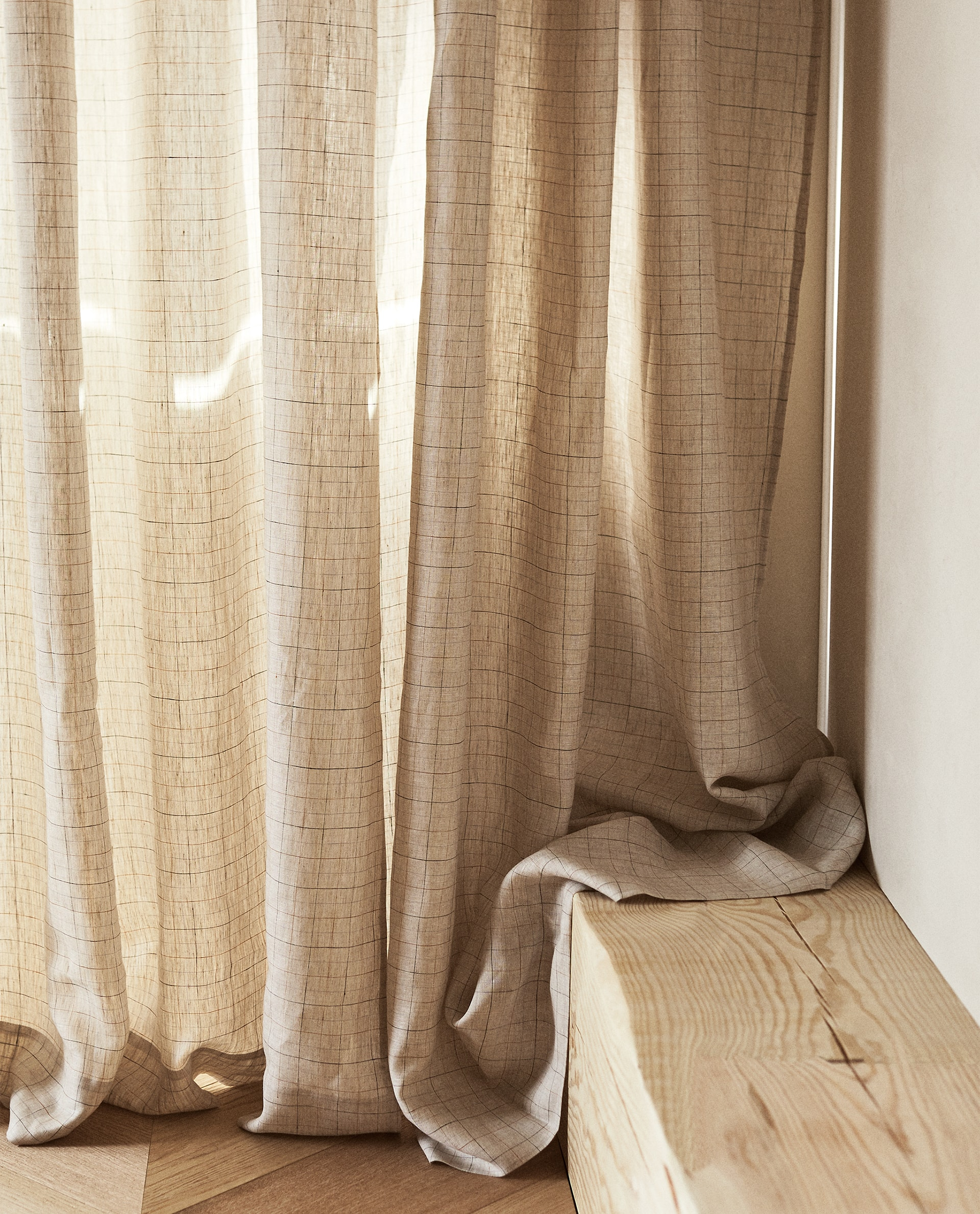 Checked Linen Curtain Curtains Living Room Zara Home Ireland