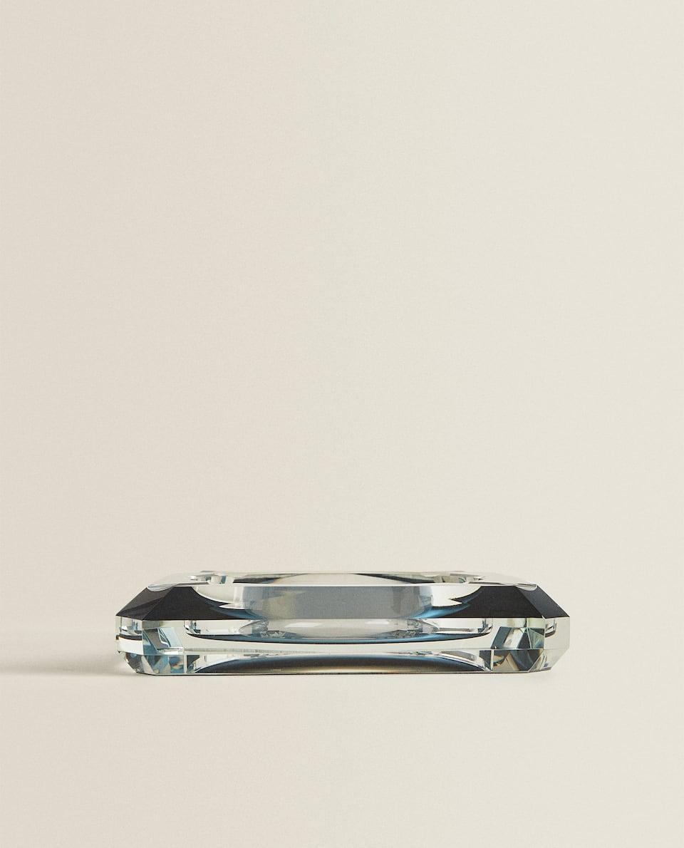 GLASS ASHTRAY WITH BLUE BASE