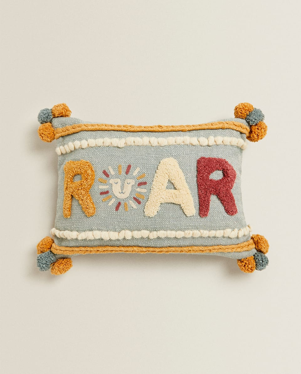 EMBROIDERED LETTER CUSHION