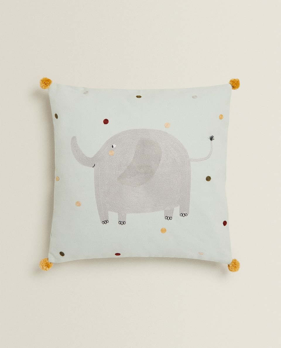 EMBROIDERED ELEPHANT CUSHION COVER